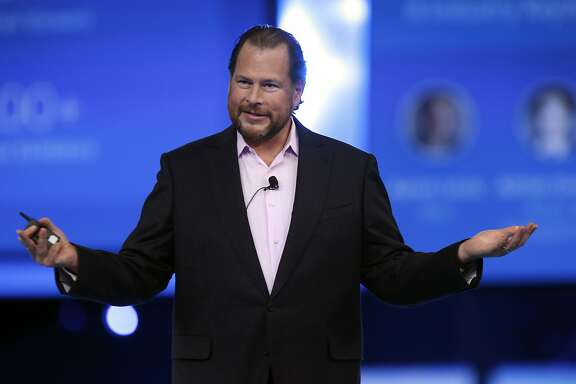 Salesforce CEO Marc Benioff delivers the keynote speech at the annual Dreamforce conference at Moscone Center in San Francisco, Calif. on Wednesday, Sept. 16, 2015.