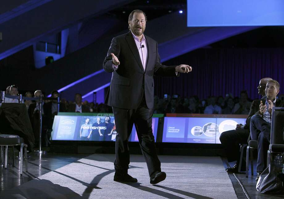 Salesforce CEO Marc Benioff delivers the keynote speech at the annual Dreamforce conference at Moscone Center in San Francisco, Calif. on Wednesday, Sept. 16, 2015. Photo: Paul Chinn, The Chronicle