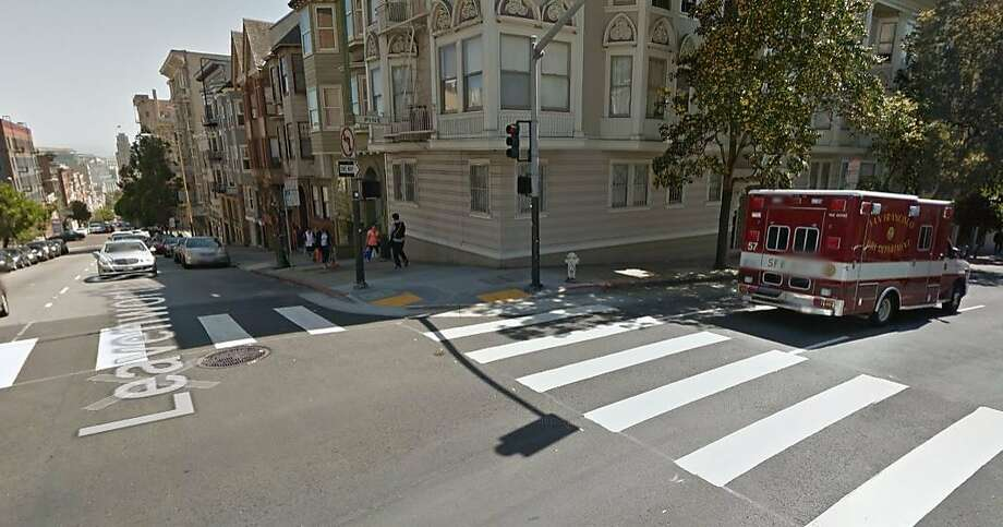 A pedestrian was severely injured after being struck by a car near the corner of Leavenworth and Pine streets in San Francisco Sept. 16, 2015. Photo: Google Maps