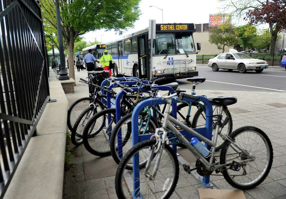 Bicycles sit in racks at the HARTransit Pulse Point in Danbury Danbury, Conn., Wednesday, May 13, 2015. Photo: Carol Kaliff / Carol Kaliff / The News-Times