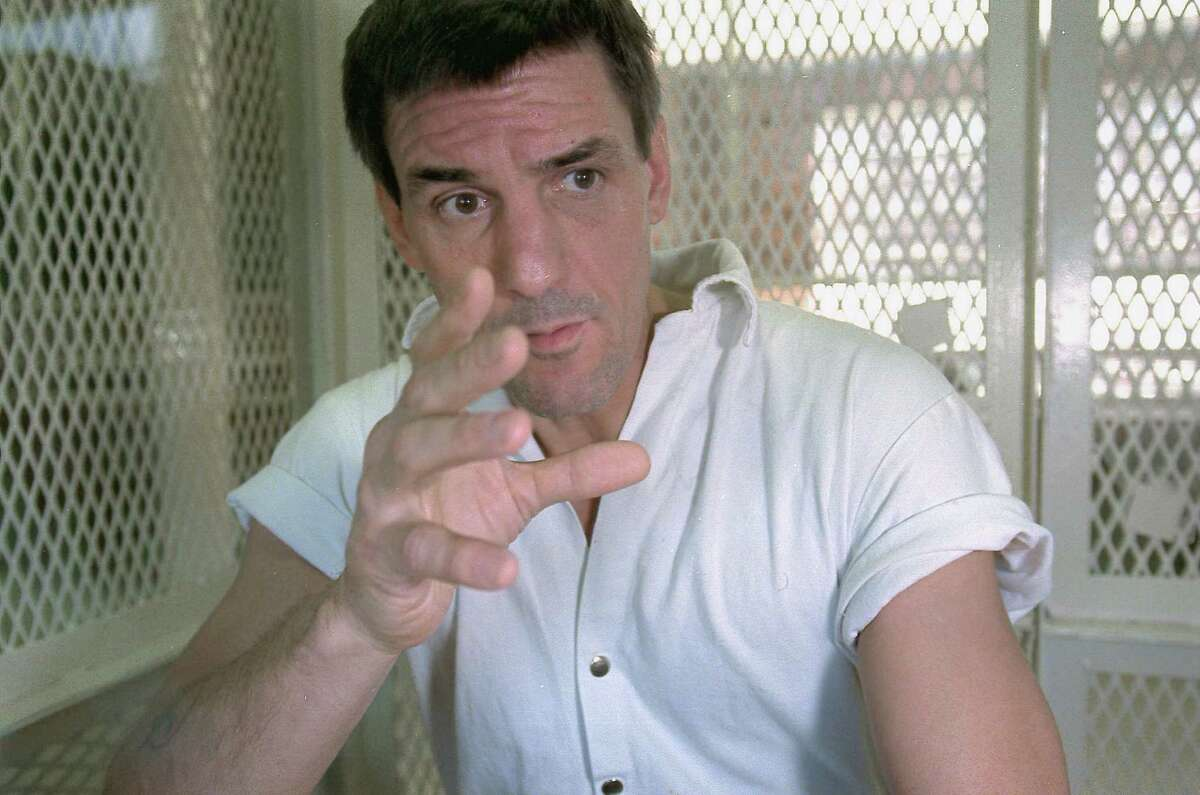 In this Nov. 19, 1999 file photo, Texas death row inmate Scott Panetti talks during a prison interview in Huntsville, Texas, where he is on death row for the 1992 murder of his wife's parents. (AP Photo/Milwaukee Journal Sentinel, Scott Coomer, File)