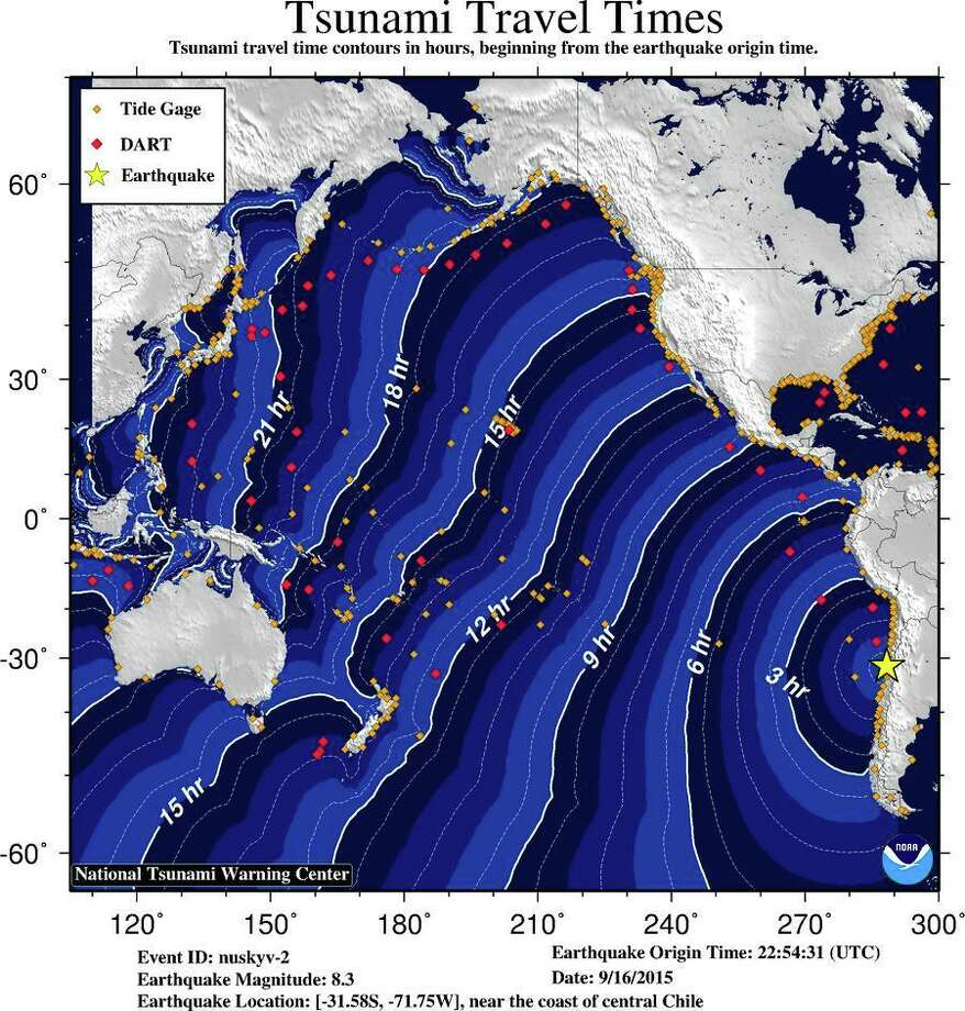 An image from the NOAA showing travel times for a possible tsunami from the magnitude-8.3 earthquake off the coast of Chile on Wednesday, Sept. 16, 2015.