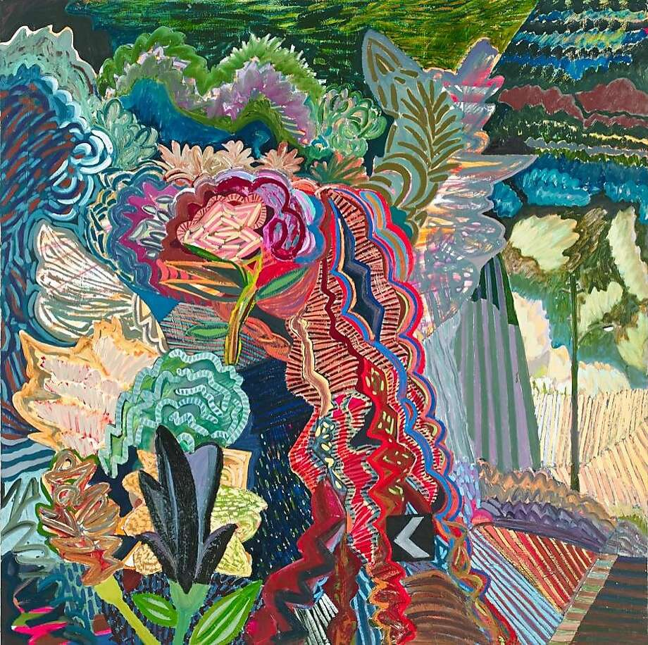 """Karla Wozniak's 2014 60-by-60-inch oil painting """"Kudzu Hillside"""" is on exhibit in """"Karla Wozniak: The Valley Electric"""" through Oct. 24 at Gregory Lind Gallery.  Credit: Bruce Cole Photo: Bruce Cole"""