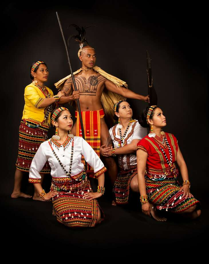 "Jenny Bawer Young, Wil Torres, Vanessa Gomez Brake, Kimberly Requesto, Maricris Macabeo in Parangal's Dance Company's ""Kalinga"" which premieres this weekend at the Skyline College Theater.  Photo: This is it Photography Photo: This Is It Photography"