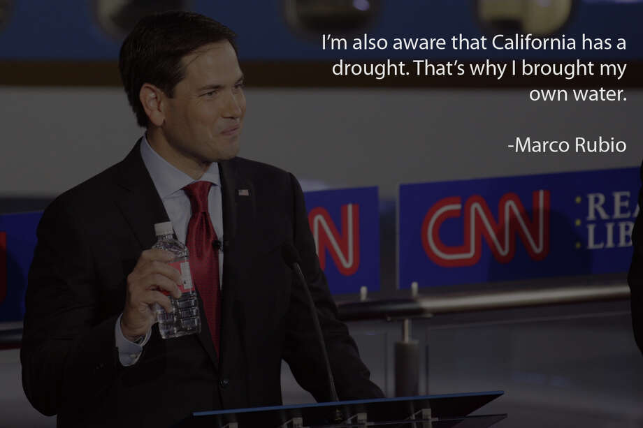 Sen. Marco Rubio (R-Fla.) holds a water bottle during the Republican presidential debate at the Ronald Reagan Presidential Library in Simi Valley, Calif., Sept. 16, 2015. Eleven candidates took part in the debate. (Max Whittaker/The New York Times) Photo: MAX WHITTAKER, Getty Images / NYTNS