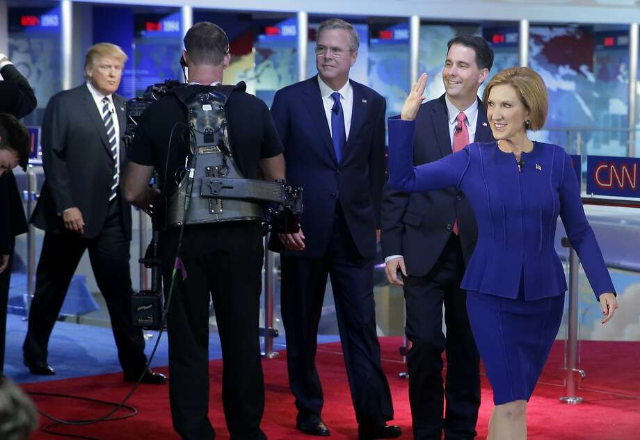 Candidates take the stage at the Ronald Reagan Presidential Library. Photo: Chris Carlson, Associated Press