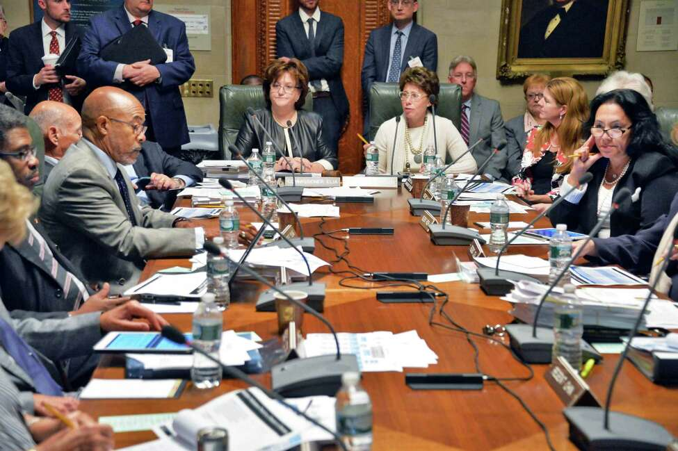 Chancellor Merryl H. Tisch, upper right, presides over a meeting of the NY State Board of Regents at the State Education Building Wednesday Sept. 16, 2015 in Albany, NY. (John Carl D'Annibale / Times Union)