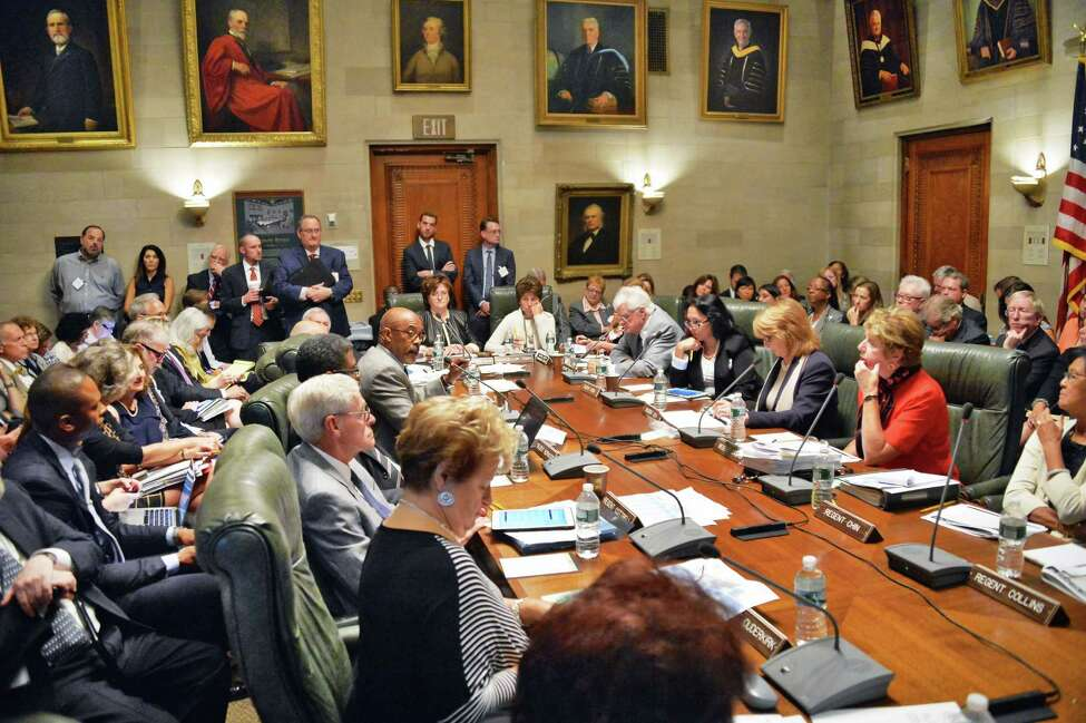 Chancellor Merryl H. Tisch, center, presides over a meeting of the NY State Board of Regents at the State Education Building Wednesday Sept. 16, 2015 in Albany, NY. (John Carl D'Annibale / Times Union)