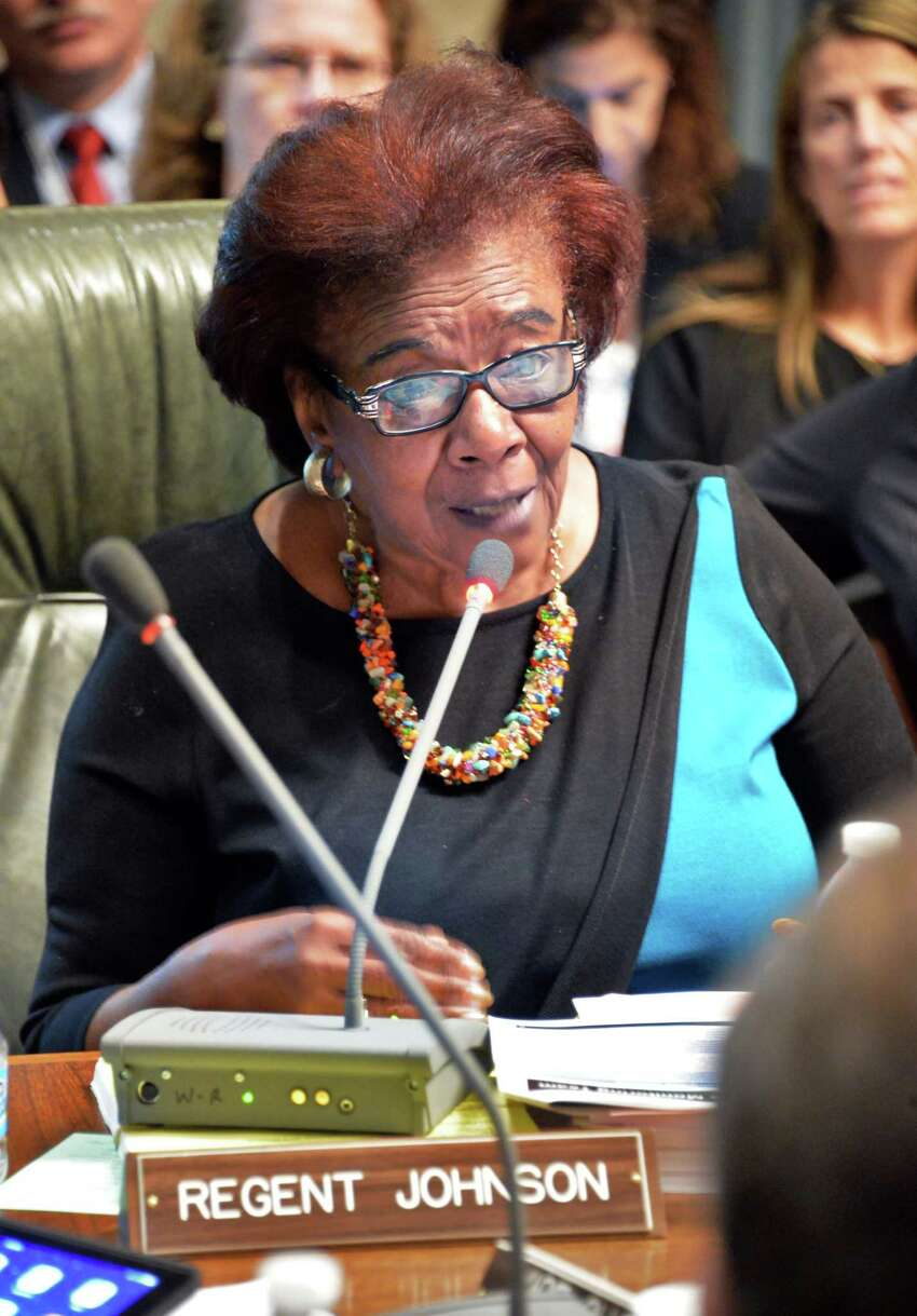 Regent Judith Johnson speaks during a meeting of the NY State Board of Regents at the State Education Building Wednesday Sept. 16, 2015 in Albany, NY. (John Carl D'Annibale / Times Union)