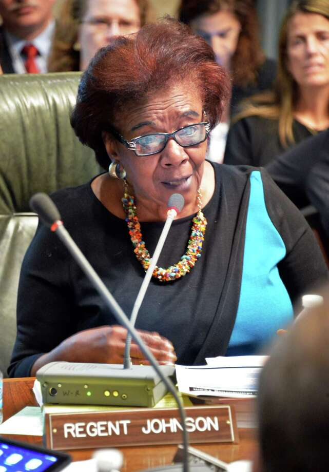 Regent Judith Johnson speaks during a meeting of the  NY State Board of Regents at the State Education Building Wednesday Sept. 16, 2015 in Albany, NY.  (John Carl D'Annibale / Times Union) Photo: John Carl D'Annibale / 00033387A