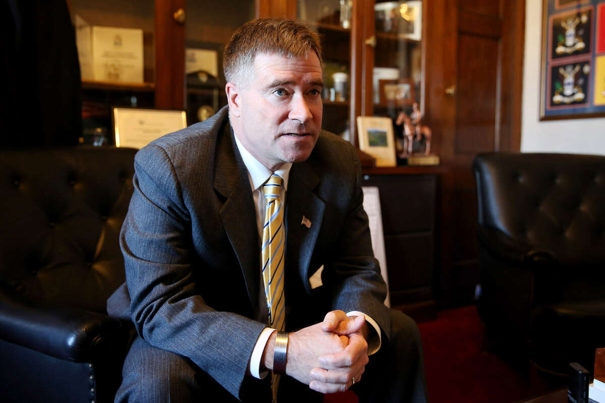 Rep. Chris Gibson, R-N.Y., sits in his Washington office Tuesday, Feb. 3, 2015. (Connor Radnovich/Times Union)