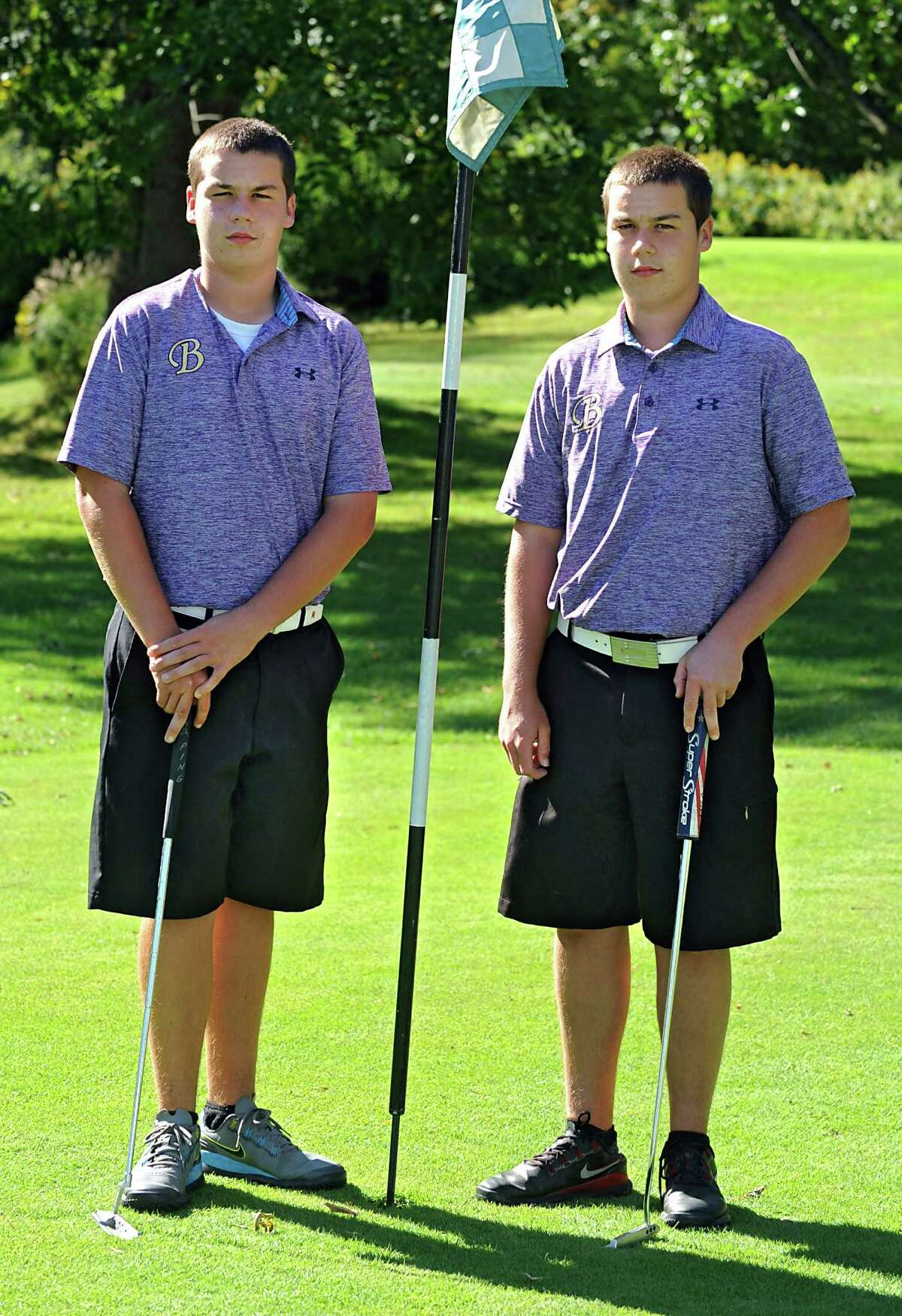 CBA golf team twins Connor, left, and Kyle Adams before a match against Shaker at Town of Colonie Golf Course on Tuesday, Sept. 15, 2015 in Colonie, N.Y. (Lori Van Buren / Times Union)