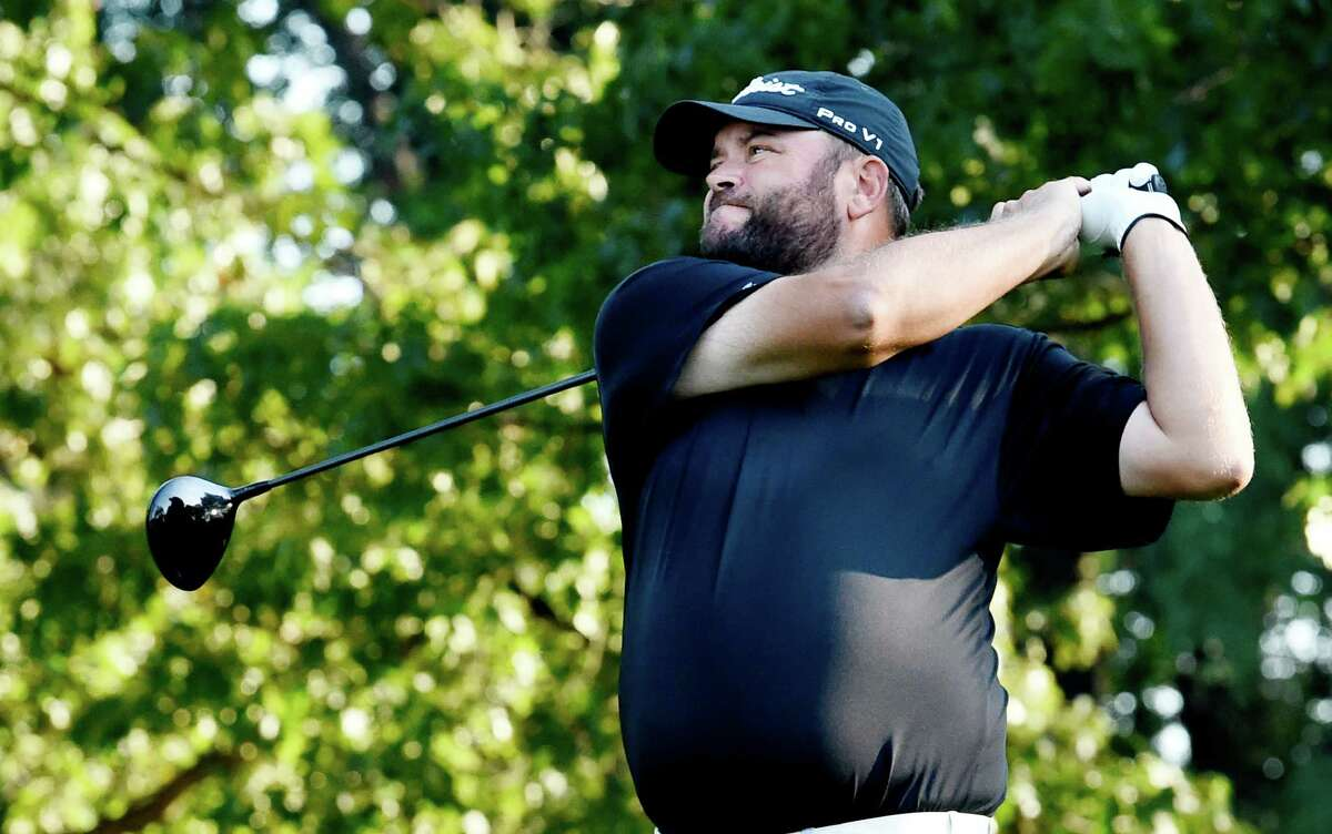 Scott Berliner, representing Hiland Park CC tees off in the Northeastern New York PGA Match Play Championship Wednesday Sept. 16, 2015 at Wolfert's Roost in Albany, N.Y. (Skip Dickstein/Times Union)