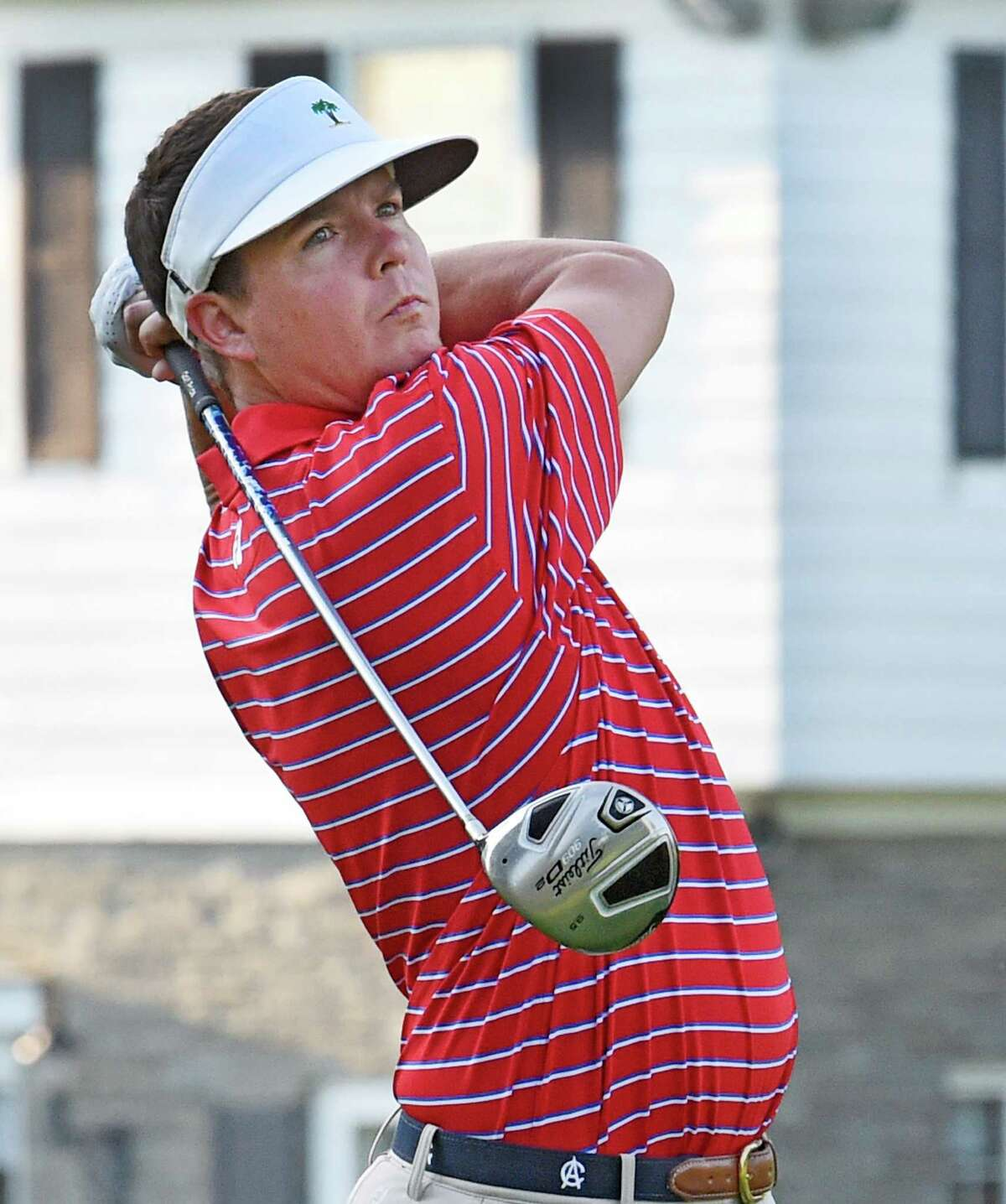 Kevin Pokorski, representing Ausable Club tees off in the Northeastern New York PGA Match Play Championship Wednesday Sept. 16, 2015 at Wolfert's Roost in Albany, N.Y. (Skip Dickstein/Times Union)