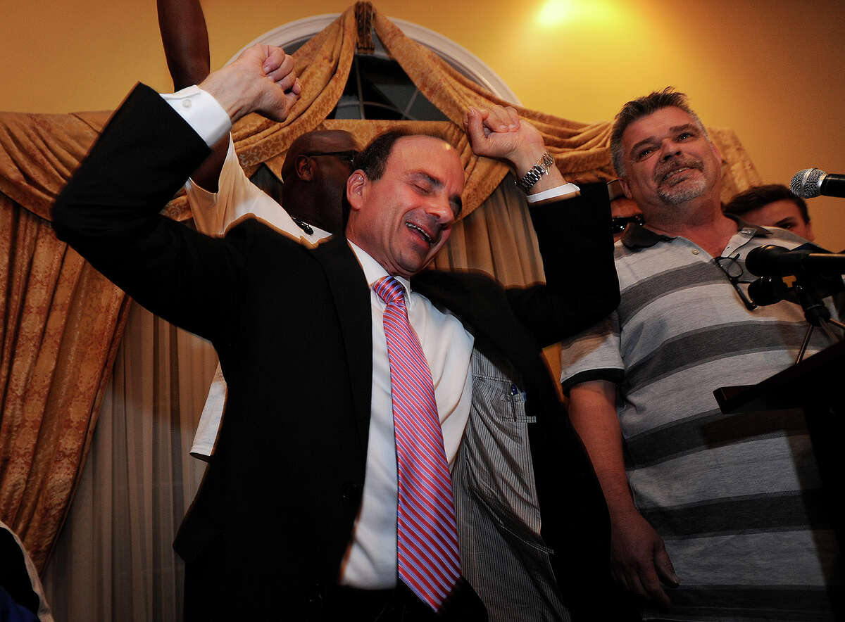 Former Bridgeport Mayor Joseph Ganim gets excited after giving his Democratic primary victory speech at Testo's Restaurant in Bridgeport, Conn. on Wednesday, September 16, 2015.