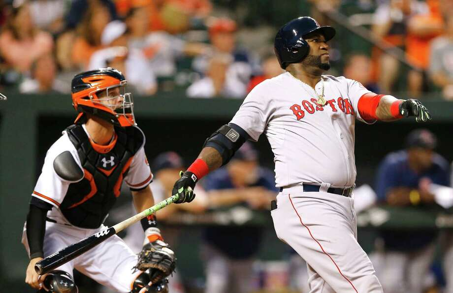 RETRANSMISSION TO CORRECT NAME OF CATCHER TO CALEB JOSEPH FROM MATT WIETERS - Boston Red Sox's David Ortiz, right, watches his solo home run in front of Baltimore Orioles catcher Caleb Joseph in the second inning of a baseball game, Wednesday, Sept. 16, 2015, in Baltimore. (AP Photo/Patrick Semansky) ORG XMIT: BAB101 Photo: Patrick Semansky / AP