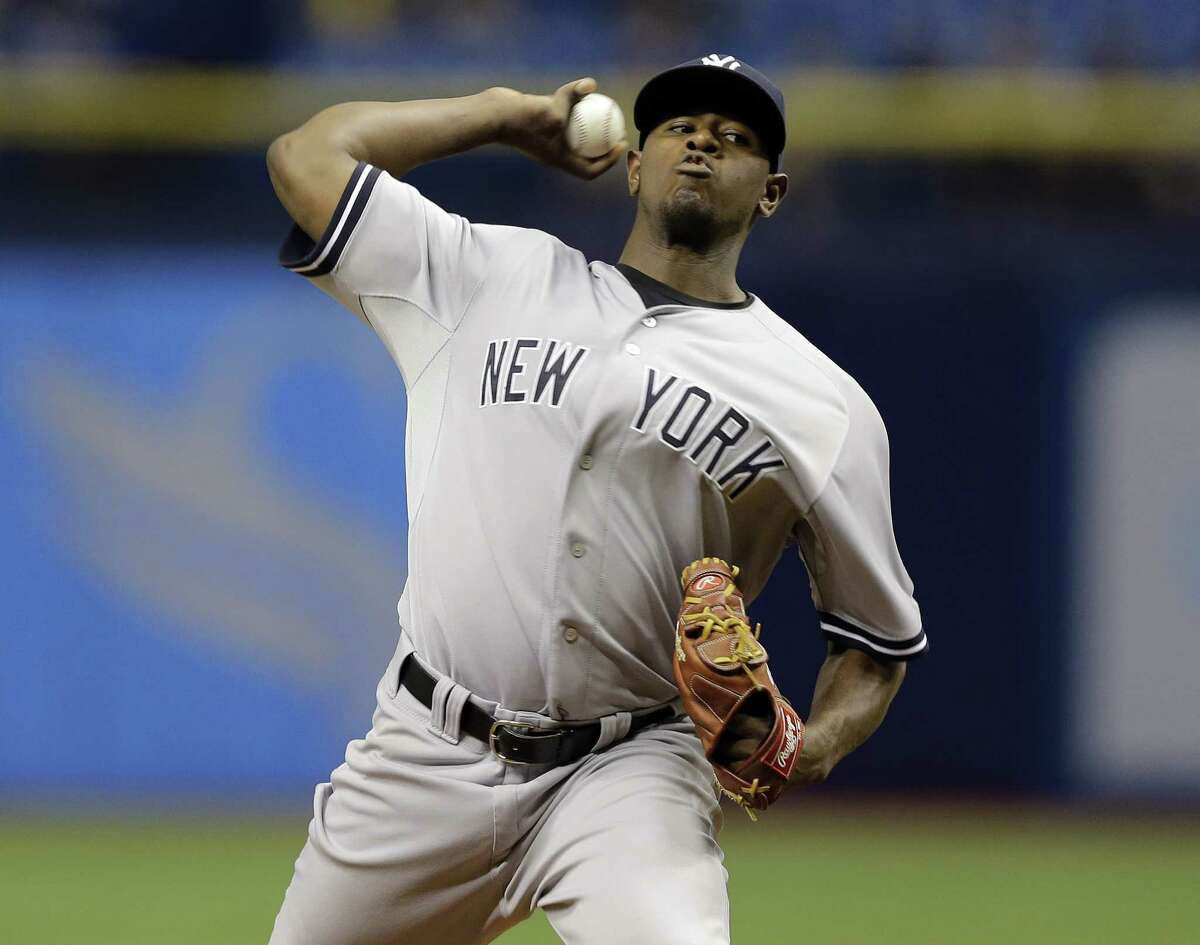New York Yankees' Luis Severino pitches to the Tampa Bay Rays during the first inning of a baseball game Wednesday, Sept. 16, 2015, in St. Petersburg, Fla. (AP Photo/Chris O'Meara) ORG XMIT: SPD102
