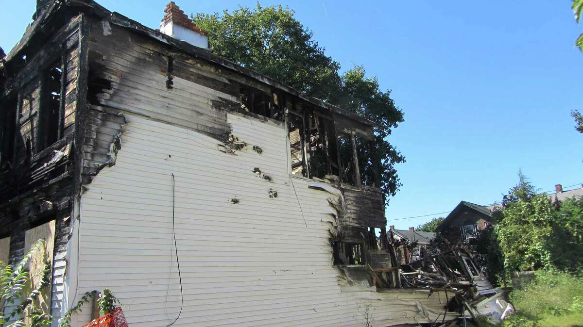 This photograph taken earlier this week shows the aftermath of a suspicious January fire at 809 2nd Ave., Lansingburgh that destroyed the stored belongings of Abbey Slaga and David Stanley. (Bob Gardinier / Times Union)