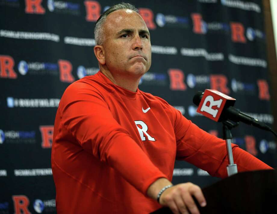 FILE - In this Saturday, Sept. 5, 2015 file photo, Rutgers head coach Kyle Flood listens to a question as he addresses the media after his team defeated Norfolk State, 63-13 in an NCAA college football game in Piscataway, N.J. Rutgers has suspended football coach Kyle Flood for three games after he contacted a faculty member over a player's status. Rutgers President Robert Barchi announced the punishment Wednesday afternoon, Sept. 16, 2015, a day after he said he received an internal investigative report. (AP Photo/Mel Evans, File) Photo: Mel Evans, STF / AP