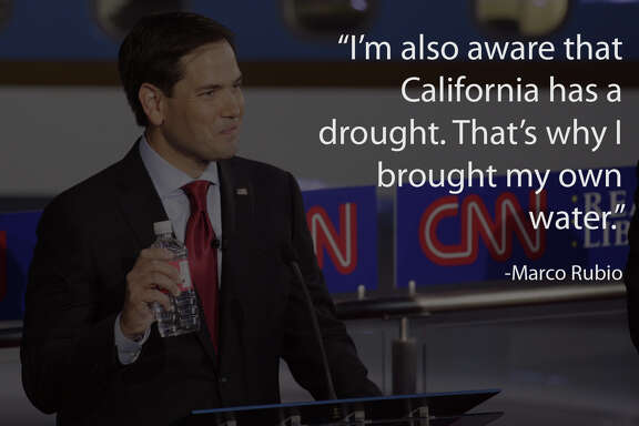 Sen. Marco Rubio (R-Fla.) holds a water bottle during the Republican presidential debate at the Ronald Reagan Presidential Library in Simi Valley, Calif., Sept. 16, 2015. Eleven candidates took part in the debate. (Max Whittaker/The New York Times)