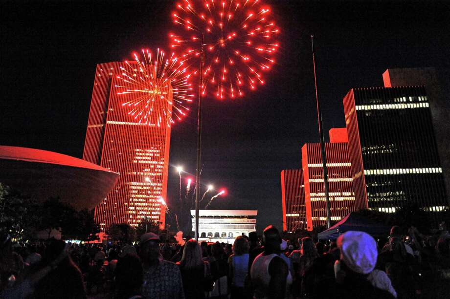 Fireworks finish of a day of celebration during a festival commemorating the 50th anniversary of the Empire State Plaza at the Plaza on Wednesday Sept. 16, 2015 in Albany, N.Y.  (Michael P. Farrell/Times Union) Photo: Michael P. Farrell / 00033337A