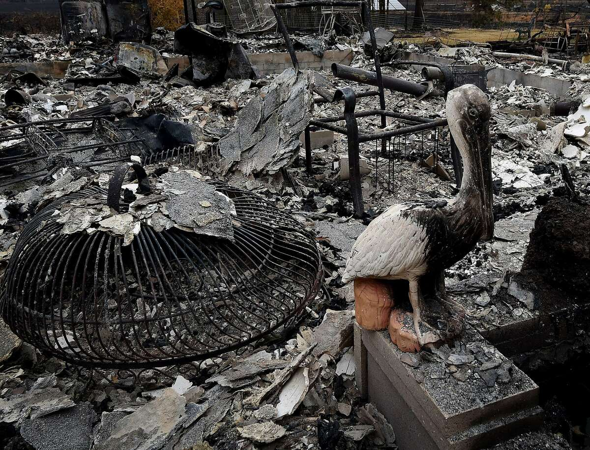 A burnt pelican statue stands beside a fire destroyed house after the Valley Fire swept through the town of Middletown in Lake County.
