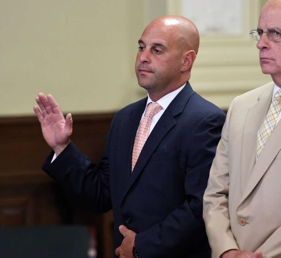 Former Troy Police officer Brian Gross appears before Judge Andrew Ceresia Tuesday morning June 16, 2015, in Rensselaer County Court in Troy, N.Y. for sentencing on charges that he tipped off a drug dealer. (Skip Dickstein/Times Union archive)