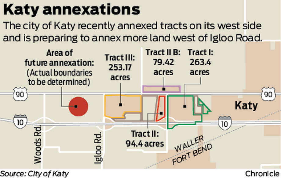 The city of Katy recently annexed tracts on its west side and is preparing to annex more land west of Igloo Road.