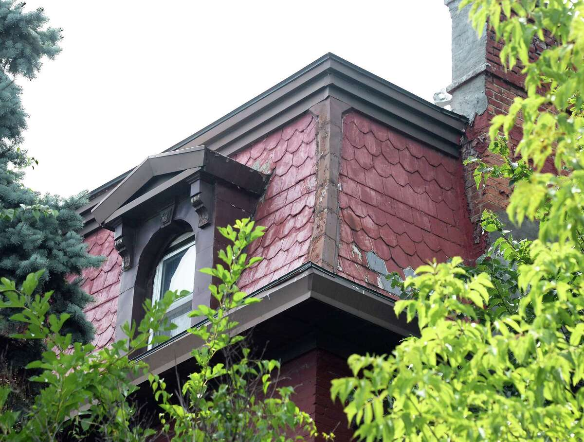 Roof detail at the house on the Southwest corner of South Pearl and Second Avenue Friday August 7, 2015 in Albany, NY. (John Carl D'Annibale / Times Union)