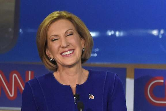 Republican presidential candidate, businesswoman Carly Fiorina laughs during the CNN Republican presidential debate at the Ronald Reagan Presidential Library and Museum on Wednesday, Sept. 16, 2015, in Simi Valley, Calif. (AP Photo/Mark J. Terrill)