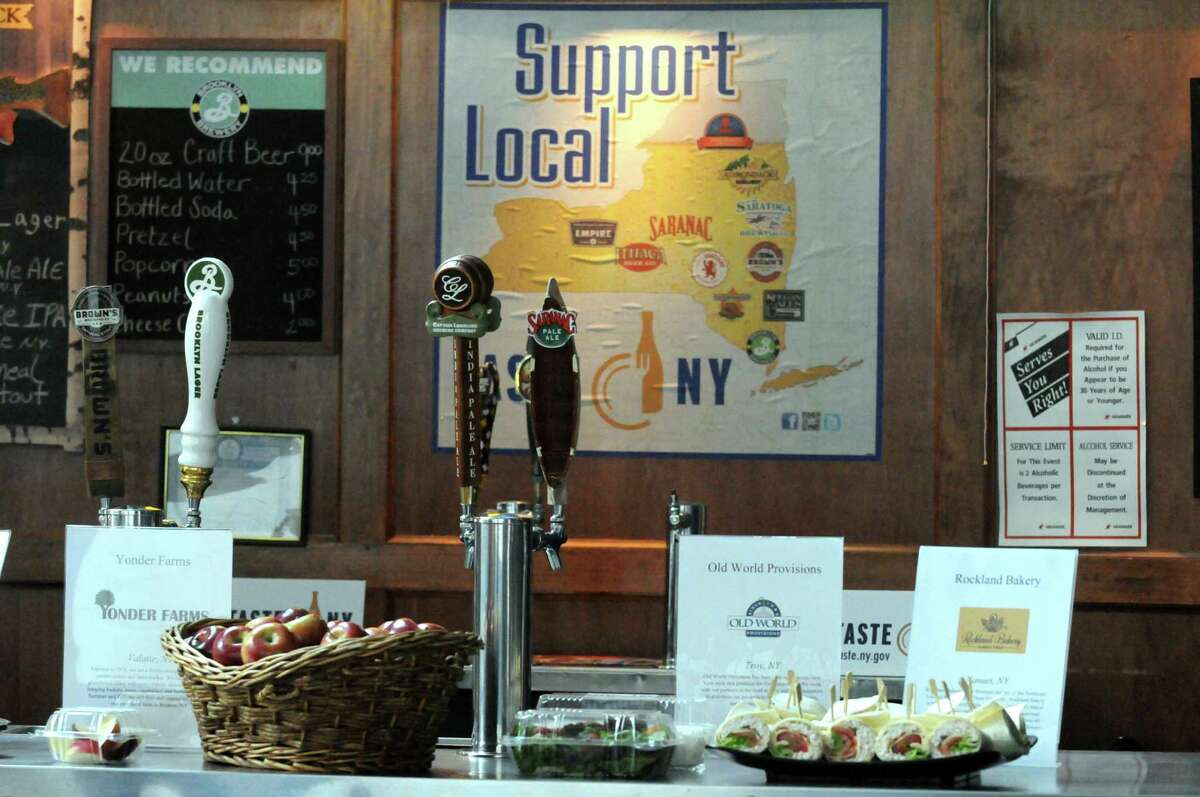 New signage promoting New York State products on display during an announcement of a Farm to Fan initiative designed to support local agriculture and enhance the