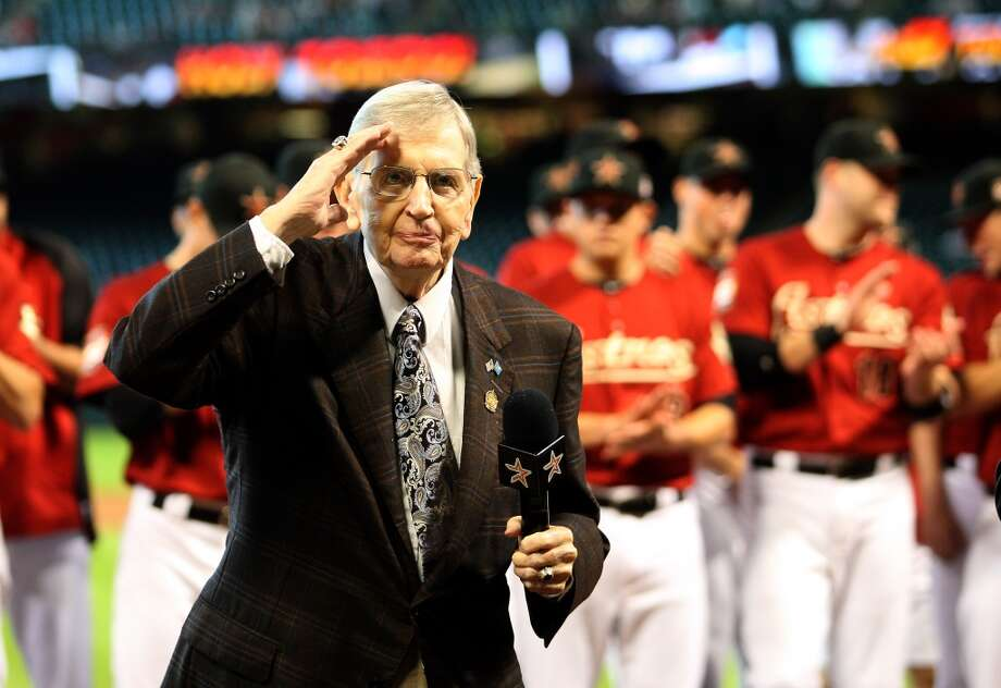 Milo Hamilton salutes the crowd during Milo Hamilton Day celebrating his 85th birthday before the start of an MLB baseball game at Minute Maid Park on Sunday, Sept. 2, 2012, in Houston.  ( Karen Warren / Houston Chronicle ) Photo: Karen Warren, Houston Chronicle