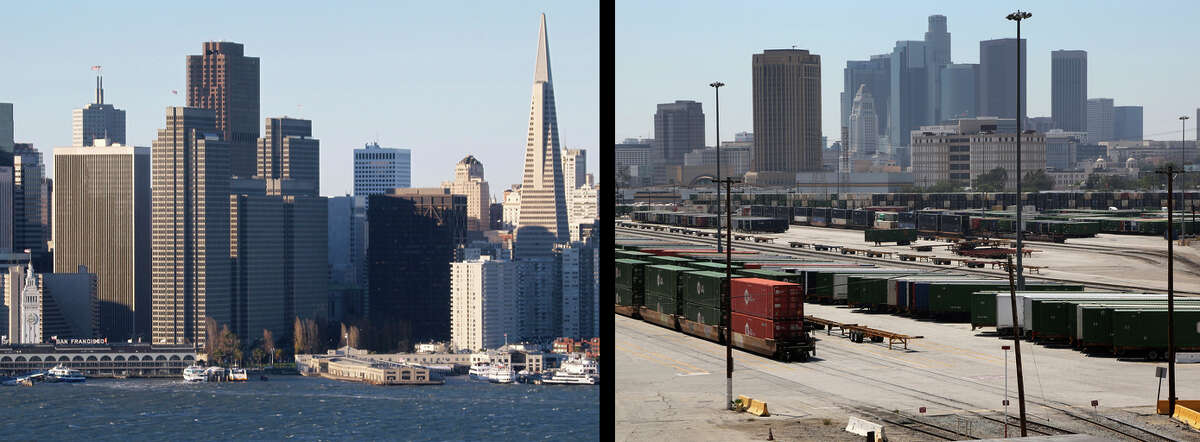 San Francisco (left) and Los Angeles.