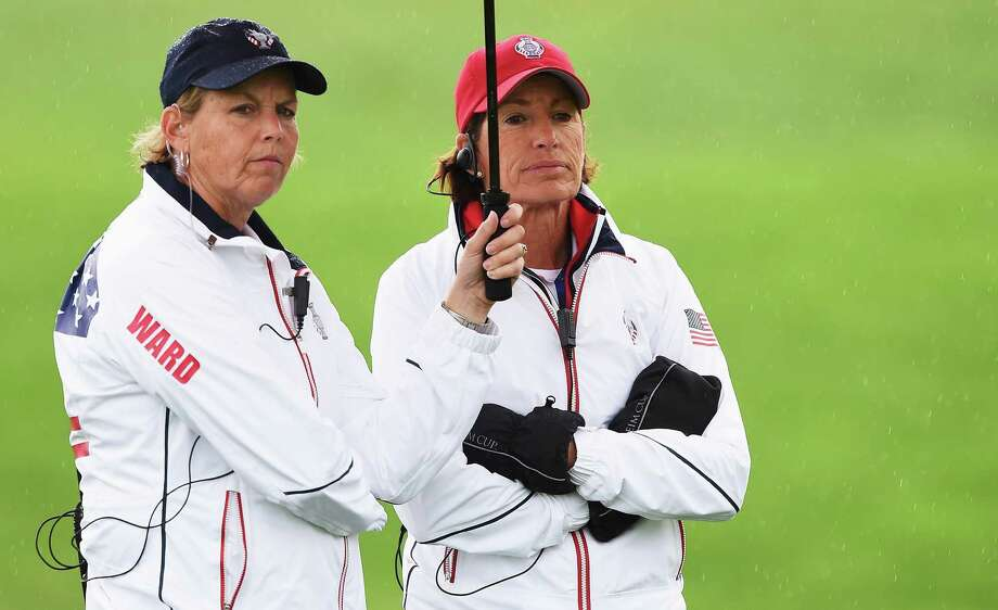 USA Team captain Juli Inkster looks on with Wendy Ward during practice prior to the start of the Solheim Cup at St Leon-Rot Golf Club on September 16, 2015 in St. Leon-Rot, Germany. Photo: Stuart Franklin /Getty Images / 2015 Getty Images