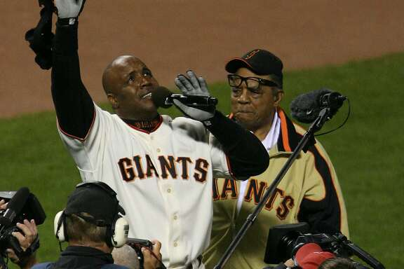 After hitting his 756th home run, Barry Bonds and Willie Mays appear to be near tears.  Celebration of Barry Bonds's 756th home run that breaks the all-time career home run record.  Giants v. Nationals at ATT Park.  Photo: Mark Costantini / S.F. Chronicle