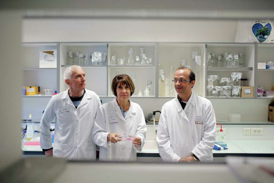 French researchers Philippe Durand, left, in charge of sciences at Kalistem startup, Marie-Helene Perrard, co-founder of Kalistem and Laurent David, a scientist at Lyon University, pose at the elite scientific university of Lyon (ENS), central France, Thursday, Sept. 17, 2015. A French startup working with a top government lab says it has developed in-vitro human sperm, claiming a breakthrough in infertility treatment sought for more than a decade. (AP Photo/Laurent Cipriani) Photo: Laurent Cipriani, STR / AP