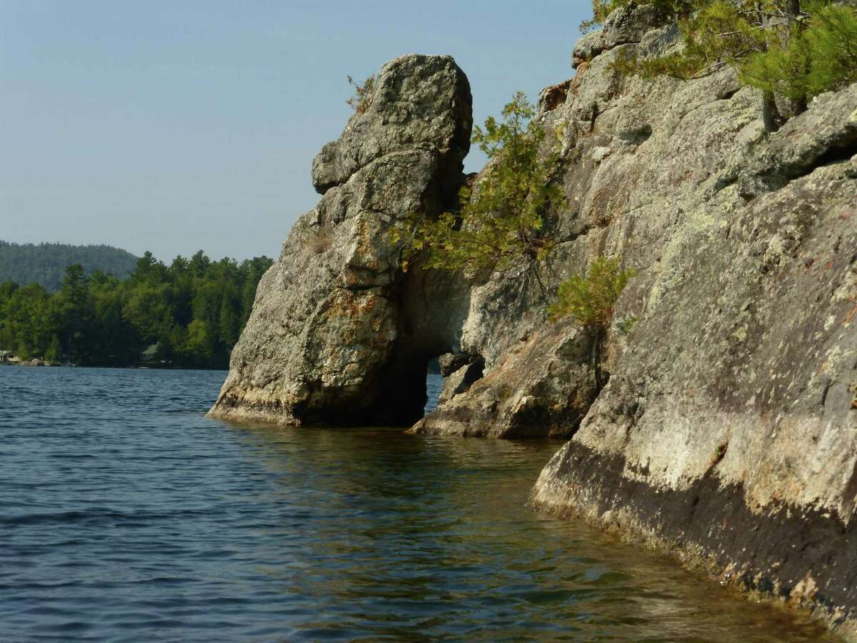 Rock formations on Charles Island in Eagle Lake invite exploration. (Erika L. Scott / Special to the Times Union)