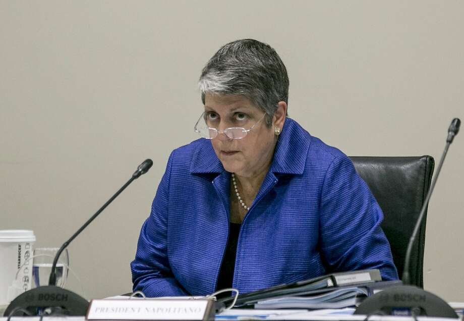 University of California President Janet Napolitano addresses a Board of Regents meeting at the UC Irvine Student Center to discuss a controversial policy statement on intolerance in Irvine, Calif., on Thursday, Sept. 17, 2015. The University of California's first draft of system-wide principles defining intolerance is drawing protests from free-speech advocates who call it censorship and Jewish organizations that say it doesn't go far enough to protect against anti-Semitism.   (AP Photo/Damian Dovarganes) Photo: Damian Dovarganes, Associated Press