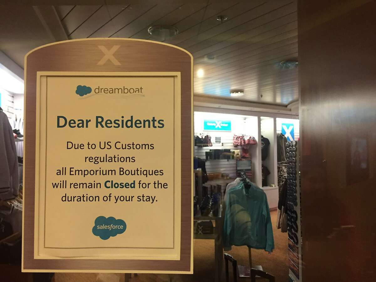 Due to U.S. Customs regulations, onboard stores were not allowed to sell any merchandise aboard Salesforce's floating Dream Boat hotel, which provided overflow accommodations to attendees of Dreamforce 2015.