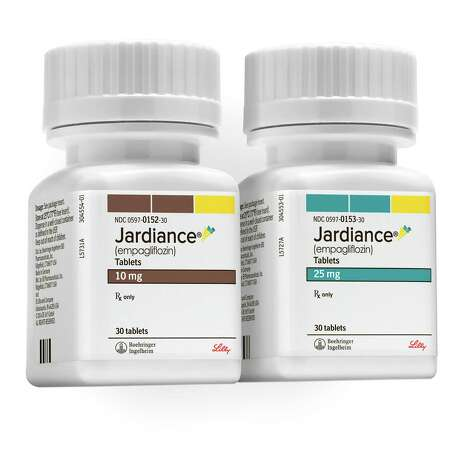 This product image provided by Boehringer Ingelheim Pharmaceuticals shows bottles of Jardiance, a daily pill for Type 2 diabetes. Jardiance sharply reduced chances of dying in diabetic patients at high risk of heart complications, a study shows, making the medication the first shown to lengthen diabetics' lives. (Boehringer Ingelheim Pharmaceuticals via AP) Photo: Anthony Morrow, HONS / Boehringer Ingelheim Pharmaceuti