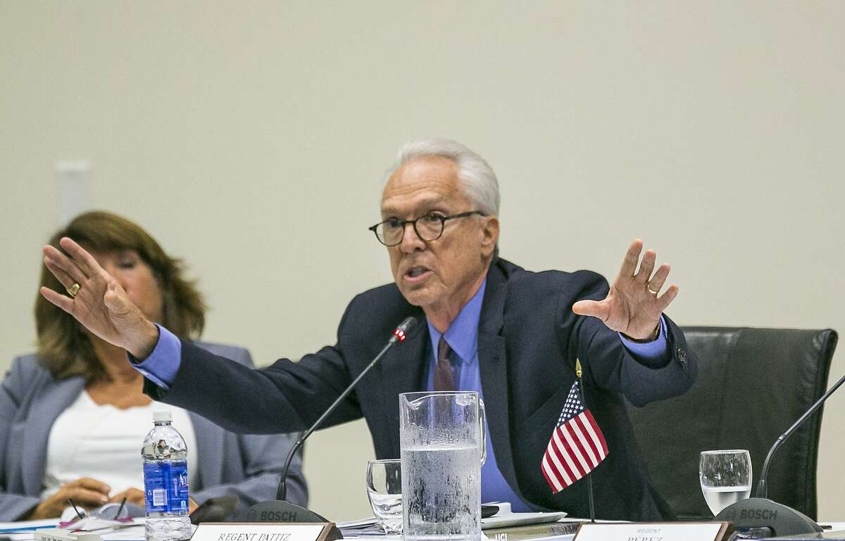 FILE-- Appointed Regent Norman Pattiz, right, addresses members of the University of California's Board of Regents meeting at the UC Irvine Student Center discussing a controversial policy statement on intolerance in Irvine, on Thursday, Sept. 17, 2015.