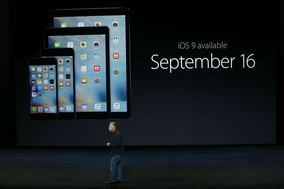 Apple Senior Vice President of Worldwide Marketing Phil Schiller speaks about iOS 9 availability during a Special Event at Bill Graham Civic Auditorium September 9, 2015 in San Francisco Photo: Stephen Lam, Getty Images