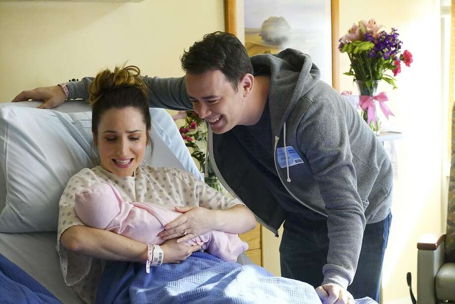 Zoe Lister-Jones and Colin Hanks play a couple who learn that childbirth can be a messy affair in CBS' classy addition to the Monday prime-time lineup. Photo: Richard Cartwright, Associated Press