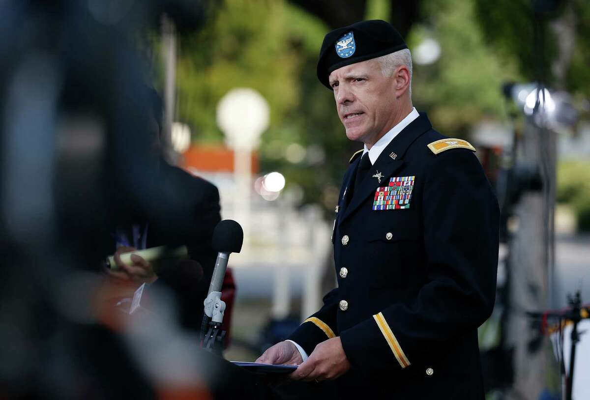 Col. Daniel King, U.S. Army Forces Command Public Affairs Officer, gives a statement at the conclusion of the first day of the Article 32 hearing for Sgt. Bowe Bergdahl at Joint Base San Antonio - Fort Sam Houston on Thursday, Sept. 17, 2015. (Kin Man Hui/San Antonio Express-News)
