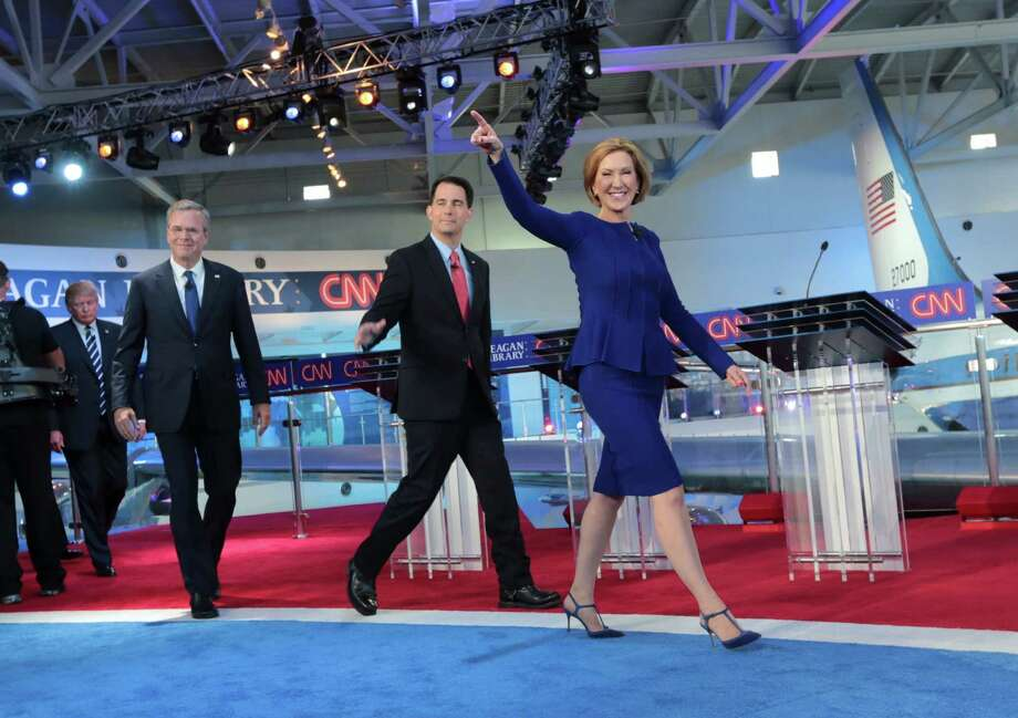 Carly Fiorina walked onstage with 10 male counterparts at the Republican presidential debate in Simi Valley, Calif., on Wednesday night. Photo: MONICA ALMEIDA, STF / NYTNS