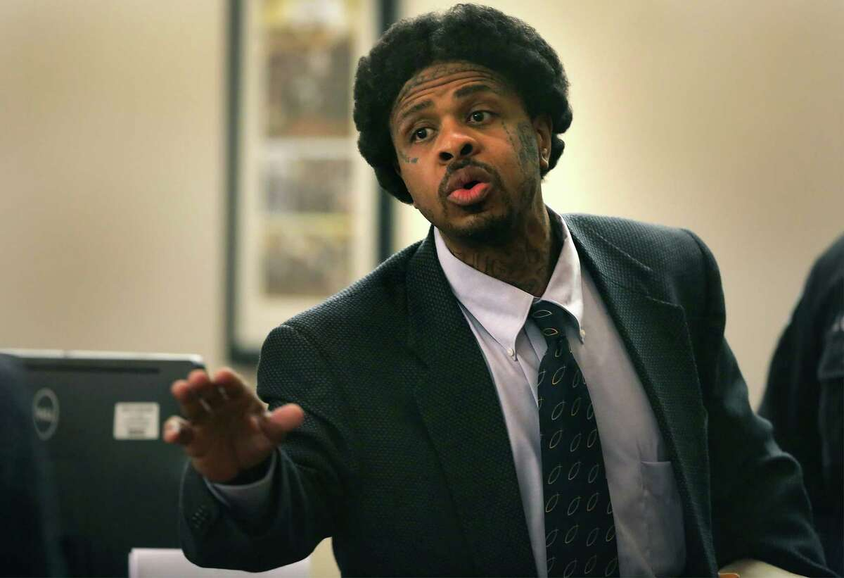 Glen Dukes, already with two life sentences for forcing five women into prostitution, outbursts at his lawyer Cornelius Coxin the 379th state District Courtroom at the Cadena-Reeves Justice Center for saying Dukes pleaded not guilty at the beginning of his capital murder trial on Tuesday, Sept. 15, 2015. Dukes turned and headed to leave the courtroom through the baliff's door.