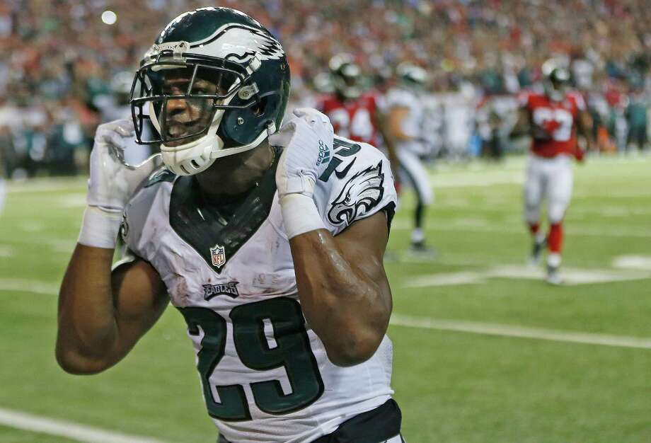Philadelphia Eagles running back DeMarco Murray (29) celebrates his touchdown against the Atlanta Falcons during the second half of an NFL football game, Monday, Sept. 14, 2015, in Atlanta. (AP Photo/John Bazemore) Photo: John Bazemore, STF / Associated Press / AP