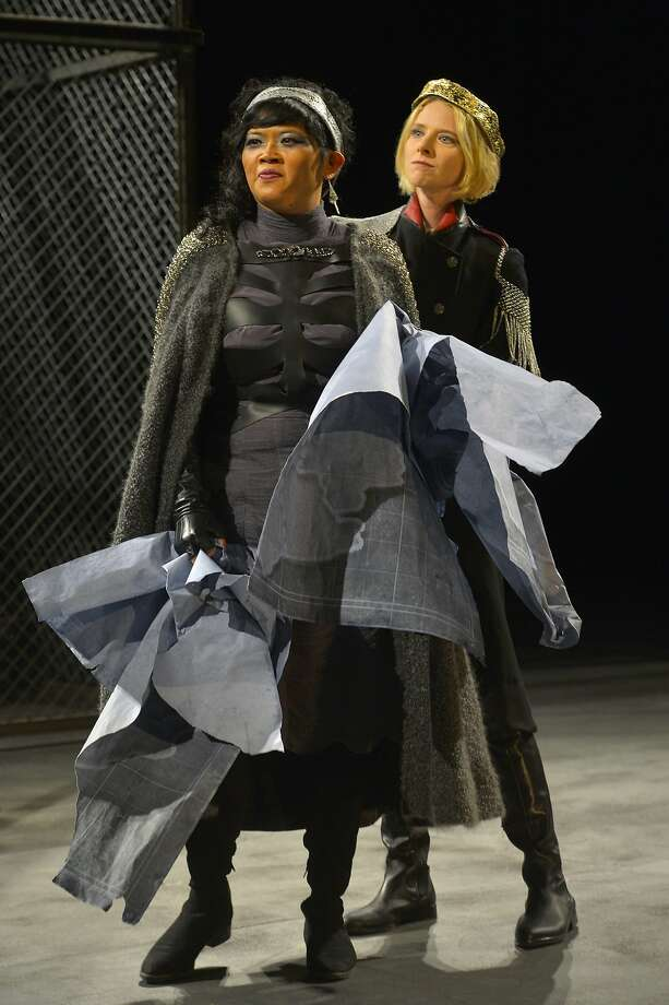"""Regan (El Beh, left) and Goneril (Arwen Anderson) defy their father in Cal Shakes' """"King Lear."""" Photo: Kevin Berne"""