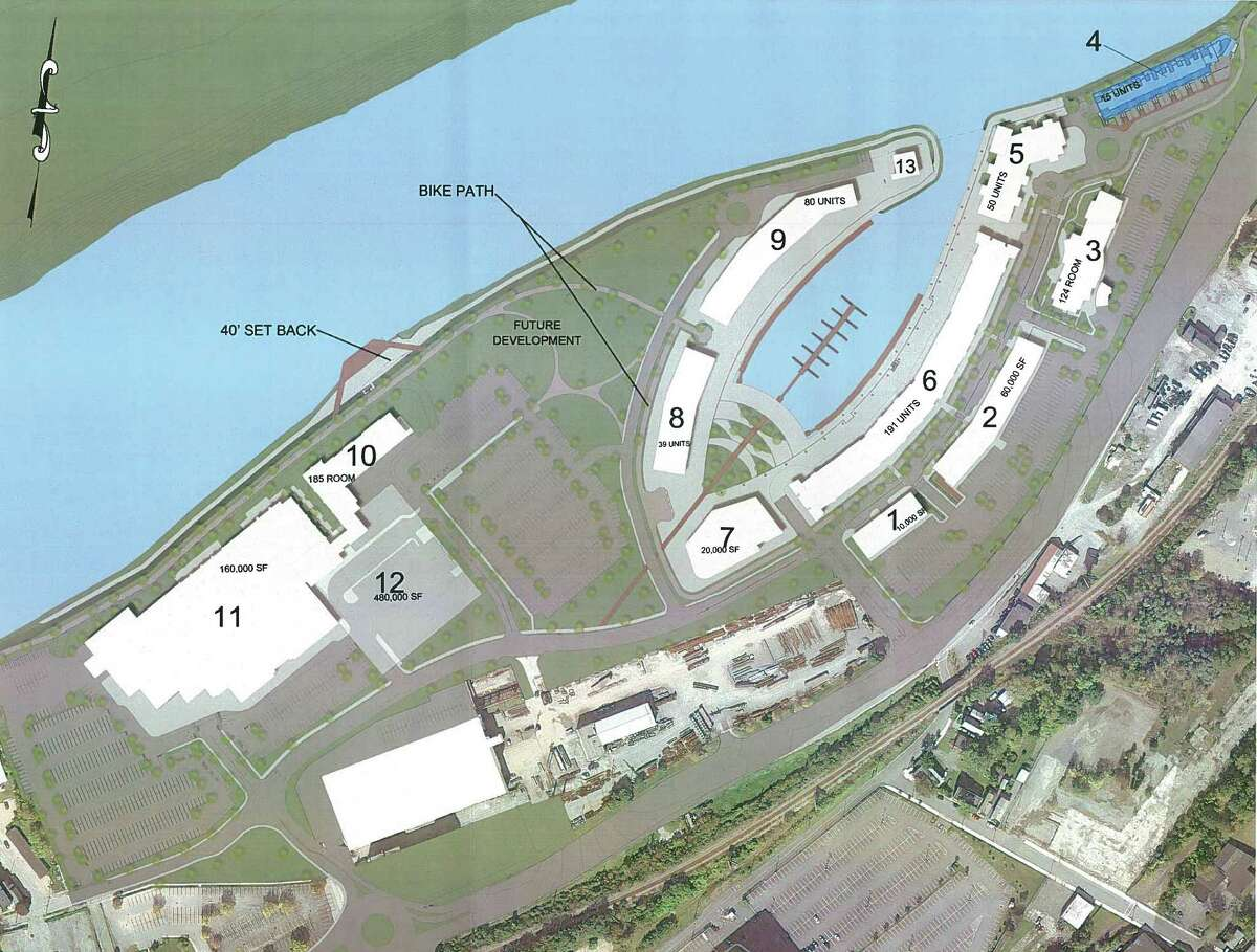 Site plan showing loaction of town homes (4) at Mohawk Harbor. (Galeis Group)