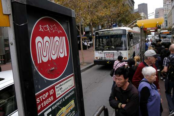 Riders board a MUNI bus along Market Street in San Francisco, Calif. as seen on Thurs. September 17, 2015.  A new survey of city residents by the San Francisco Controller's office asked them to grade local government and a host of departments. The library system scores the best and MUNI scored the worst.